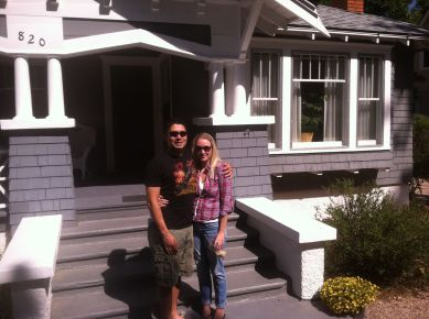 The newlyweds and the new house.